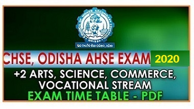 CHSE Odisha +2 Exam 2019 Time Table PDF Download