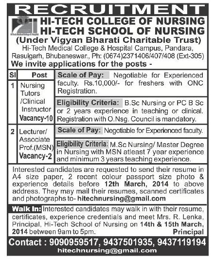 nursing tutor  clinical instructor  u0026 lecture job vacancy in